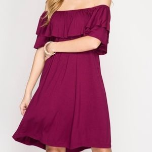 Garnet off the shoulder dress